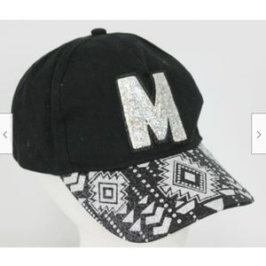 Justice Black M hat Sparkle BLing SW Geometric One